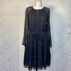 Tory Burch Black Silk Tassel Long Sleeve Dress
